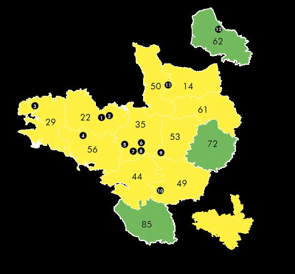 carte territoire de la coopérative Le Gouessant